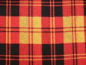 Plaid Check Chunky Knit Stretch Jersey Dress Fabric  Red, Black & Yellow