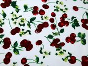 Cherry Print Silky Satin Dress Fabric  Red & Green on White
