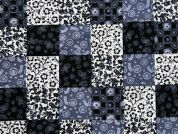 Floral Patchwork Print Cotton Dress Fabric  Black & Grey
