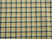 Plaid Check Soft Cotton Shirting Dress Fabric  Yellow & Mint
