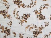 Floral Print Cotton Voile Dress Fabric  Brown on White