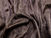 Creased Crush Texture Velour Knit Dress Fabric  Brown