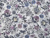 Floral Burn Out Polyester & Cotton Voile Dress Fabric  Lilac