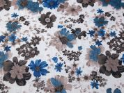 Floral Print Creased Polycotton Voile Dress Fabric  Teal & Beige