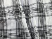 Plaid Check Crinkle Polycotton Dress Fabric  Black & White