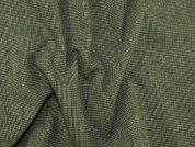 Wool Blend Woven Suiting Dress Fabric  Green & Cream