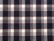 Plaid Check Cotton Drill Dress Fabric  Navy Blue