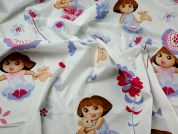 Dora The Explorer Print Cotton Disney Fabric  Ivory