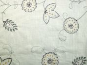 Embroidered Polyester & Cotton Voile Dress Fabric  Cream