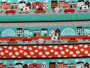 Emergency Driving Print Cotton Dress Fabric  Multicoloured