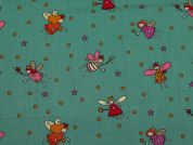Fairies Print Cotton Dress Fabric  Green