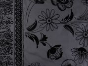 Floral Border Flocked Print Taffeta Fabric  Black