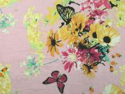 Floral & Butterfly Print Cotton Voile Dress Fabric  Pink