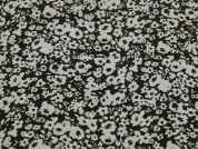 Floral Print Microfibre Dress Fabric  Olive Green