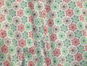 Snowflake Print Cotton Dress Fabric  Red & Green