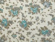 Floral Print Cotton Dress Fabric  Turquoise
