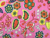 Floral Print Cotton Dress Fabric  Pink