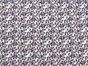 Floral Print Cotton Dress Fabric  White, Royal & Red