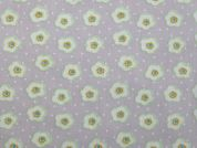 Floral Print Polyester & Cotton Dress Fabric  Lilac