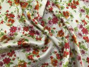 Floral Print Slinky Satin Dress Fabric  Multicoloured