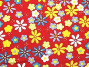 Floral Polyester Suiting Dress Fabric  Red Multi