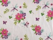 Floral & Dragonfly Print Cotton Dress Fabric  Pink