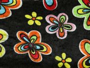 Flower Print Velour Knit Dress Fabric  Multi on Black