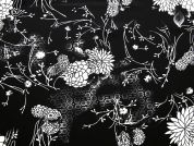 Floral Print Microfibre Dress Fabric  Black & Ivory