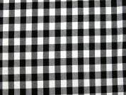 Gingham Plaid Check Woven Poly Viscose Dress Fabric  Black & White