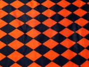 Harlequin Diamonds Satin Dress Fabric  Black & Orange