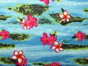 Hawaiian Print Polyester Stretch Jersey Dress Fabric  Pink & Turquoise