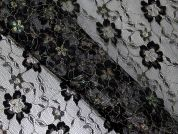 Iridescent Flower Lace Dress Fabric  Black