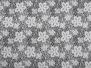 Floral Print Stretch Cotton Dress Fabric  Black & White