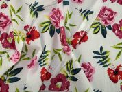 Floral Print Cotton Lawn Dress Fabric  White