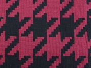 Large Dogtooth Cotton Blend Coating Fabric  Wine & Black