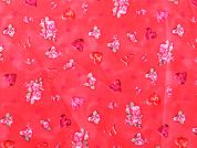 Love Hearts & Flowers Print Cotton Dress Fabric  Red