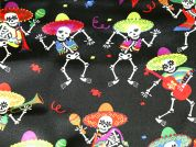 Dancing Mexican Skeletons Print Satin Dress Fabric  Multicoloured