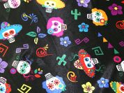 Mexican Skeletons Print Satin Dress Fabric  Multicoloured