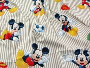 Mickey Mouse Print Cotton Disney Fabric  Beige