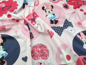 Minnie Mouse Print Cotton Disney Fabric  Pink