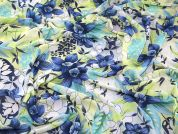 Floral Print Polyester Chiffon Dress Fabric  Green