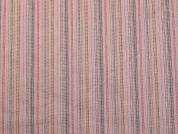 Rainbow Stripe Polycotton Stretch Twill Dress Fabric  Baby Pink