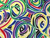 Rainbow Swirl Print Satin Dress Fabric  Multicoloured
