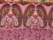 Paisley Stripe Print Cotton Lawn Dress Fabric  Pink