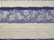 Paisley Stripe Brocade Dress Fabric  Blue & Cream