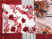Patchwork Prints Cotton Lawn Fabric  Ivory & Red