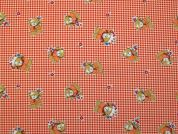 Teddies Print Polycotton Dress Fabric  Orange