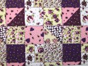 Patchwork Print Polycotton Dress Fabric  Purple