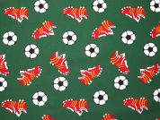 Football Print Polycotton Dress Fabric  Emerald Green