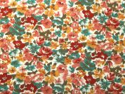 Floral Print Polycotton Dress Fabric  Rust